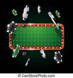 Gambling casino banner with flying chips