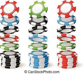 Gambling (casino) chips falling to stacks - poker chips