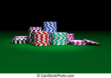 Gambling casino chips stacked on green table. Great background for poker magazines, banners, webpages, flyers, etc.