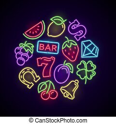 Gambling casino games neon logo with slot machine bright icons