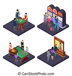 Gambling, casino isometric vector composition with slot...