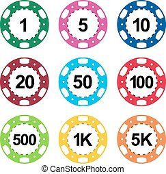 Gambling casino poker chips color set - Gambling casino...
