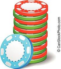 Gambling casino poker stack chips color sign set