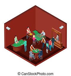 Gambling, casino room with people isometric vector design....