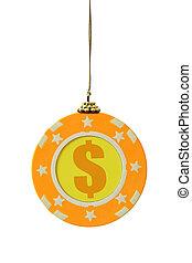 Gambling chip as christmas ball
