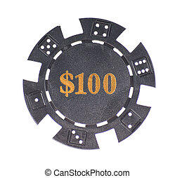 gambling chip over a white background