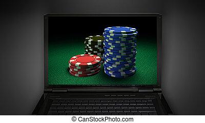 gambling chip theme is display on laptop screen
