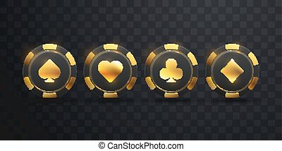 Gambling chip with golden spade sign - Gambling chips with...