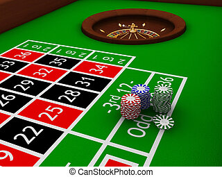 3D render of gambling chips on roulette table