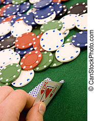 Gambling chips and ace