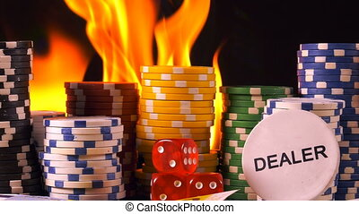 Gambling Chips Dices Poker Cards and Fire