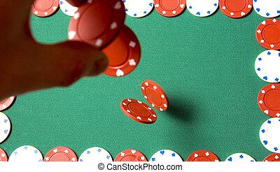 Gambling chips falling