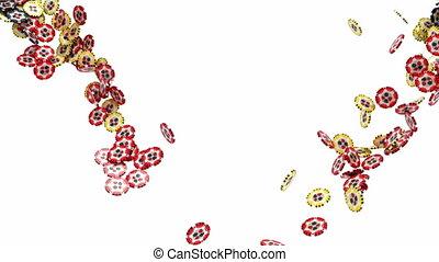 Gambling chips flow in slow motion - Casino gambling chips...
