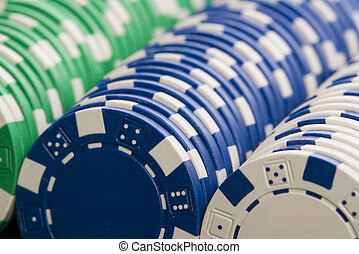 Gambling chips in a rows