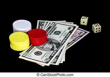 Gambling Chips Money and Dice on Black Background