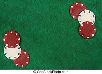 Gambling chips over green felt with copy space. I?ve got more poker images