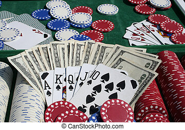 gambling chips - poker chips, money and cards