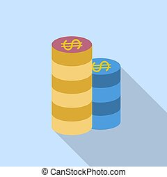 Gambling chips. Single flat icon on blue background. Vector illustration