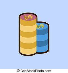 Gambling chips. Single flat icon on blue background. Vector illustration.