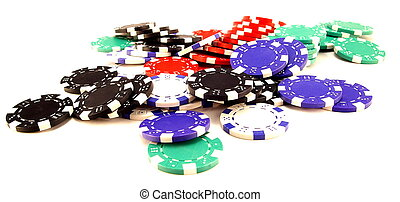 Gambling chips - stack of gambling chips