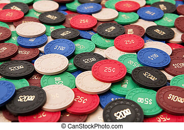 Gambling chips - Photo of a large group of poker chips.