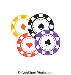Gambling Chips Vector Illustration In Flat Design.