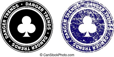 Gambling Danger Trends Stamp with Grunge Surface