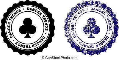 Gambling Danger Trends Stamp with Grungy Style