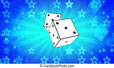 Gambling dice card suits and money non looping blue abstract...