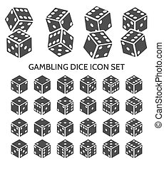 Gambling dice icon set