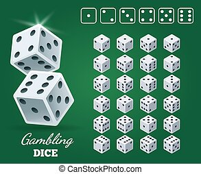 Gambling dice set on green background