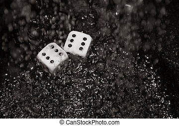Gambling dices under the rain