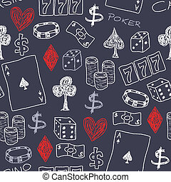 Doodle seamless background texture illustration - casino concepts with poker, dice and gambling.