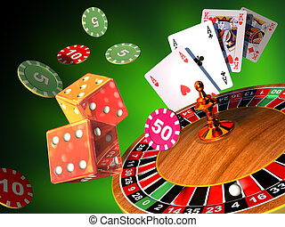 Gambling games - Roulette, cards and dices composition. ...