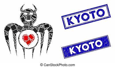 Mosaic gambling happy devil pictogram and rectangle Kyoto watermarks. Flat vector gambling happy devil mosaic pictogram of scattered rotated rectangle elements.