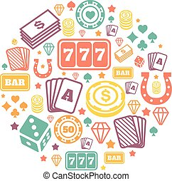 Gambling icons set, casino and card, poker game. Vector   backround