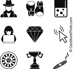 Gambling icons set, simple style
