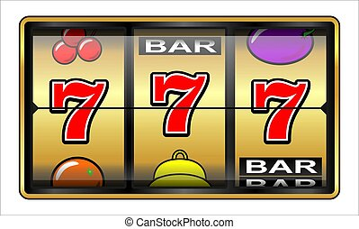 Gambling illustration 777 - Casino slot machine, jackpot, ...