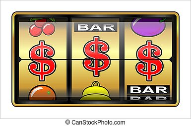 Gambling illustration $ - slot machine, jackpot $$$, success...