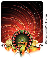 Gambling illustration with casino elements on grunge background.