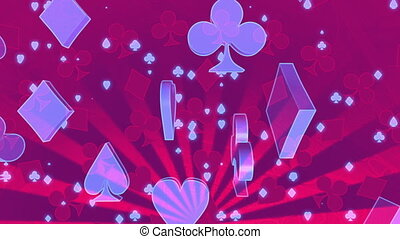 Red and blue gambling abstract looping animated CG backdrop