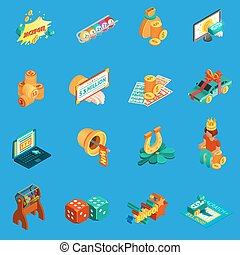 Gambling Isometric Icons Set