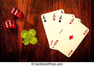Gambling items on a wooden table