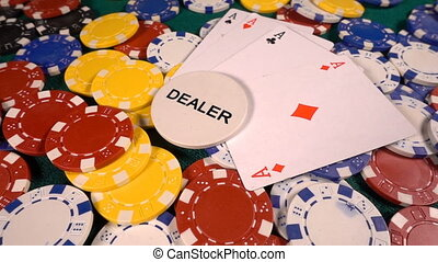 Gambling Money Chips and Poker Cards