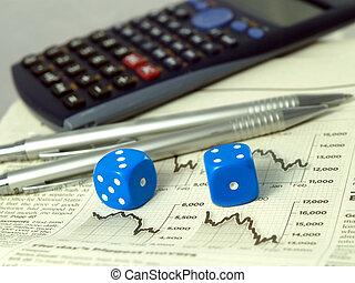 Gambling on the stock exchange concept - Calculator pens...
