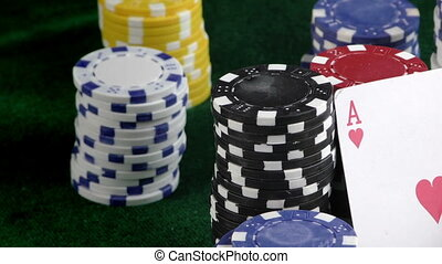 Red Dice Poker Cards and Money Chip