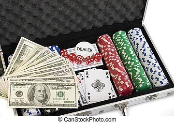 Gambling background with dollars, dices and chips