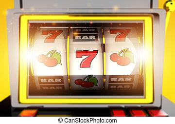 Gambling Slot Machine With Symbols.