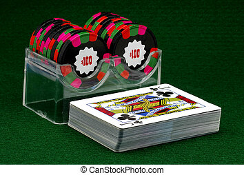 Gambling - Poker CHips and a Deck of Cards