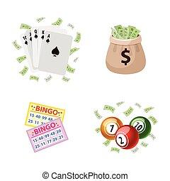 Gambling symbols - bingo, playing cards, jackpot
